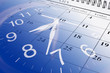 Leinwanddruck Bild - Calendar and Clock