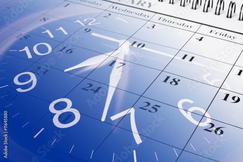 Leinwanddruck Bild Calendar and Clock
