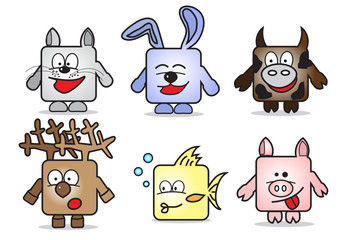 Abstract four cartoon square animals at white background