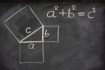 Pythagorean theorem on blackboard
