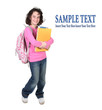 Girl Holding School Books on White Background