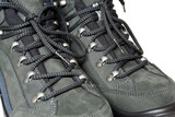 Lacing view on trekking boots poster