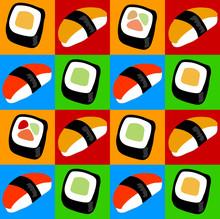 Sushi und Sashimi Pop-Art-