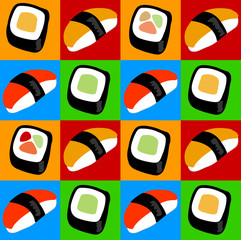 Sushi and sashimi pop art