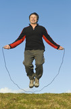 man skipping rope