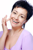 laughing woman with good condition of skin poster