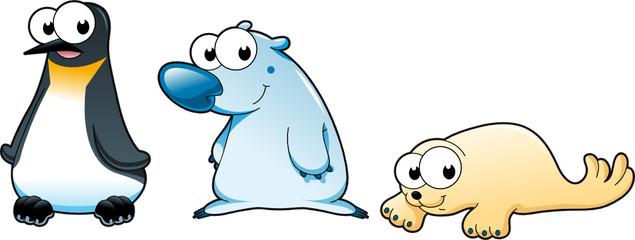 Polar animals: Polar bear, penguin and seal