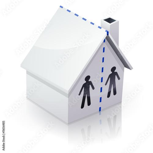 Maison blanche en colocation (reflet)