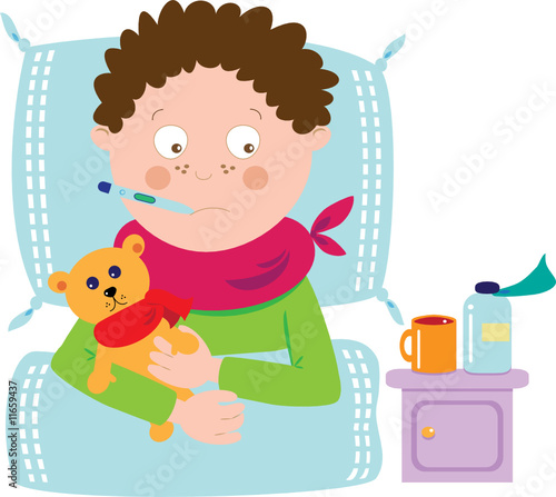 ill boy with teddy and medicine
