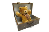 Old case with teddy bear isolated against a white background poster