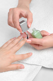 applying manicure, moisturizing the nails poster