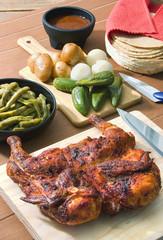 Pollo adobado, asado a la mexicana