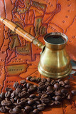 Coffee in a turk, grains and map poster