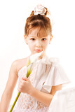 Little girl with flower on white background