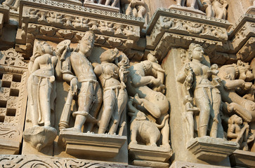 Detail of hindu temple in Khajuraho, Madhya Pradesh, India