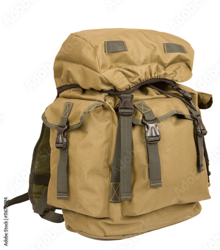 Military rucksack isolated on white