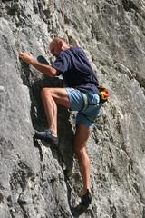 Climbing up a cliff