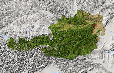 Austria, shaded relief map, colored for vegetation