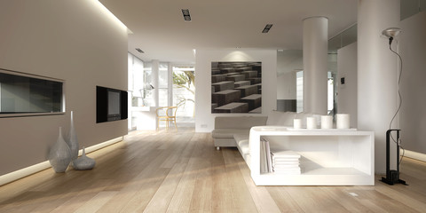 White minimalist interior