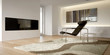 White modern interior with armchair and plasma television