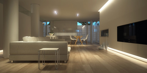 White minimalist interior (night)