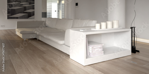 Modern white sofa with bookcase