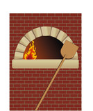firewood oven with shovel on brick wall poster
