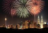 Kuala Lumpur skyline with fireworks - Fine Art prints