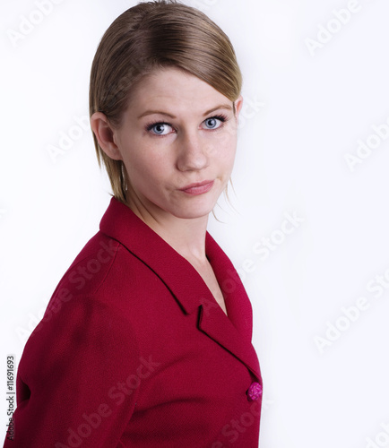 Puzzled looking attractive young woman