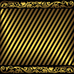Elegant background from golden and black strips(vector)