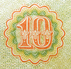 Ten, fragment old banknotes