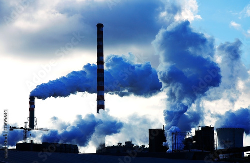 smoke polutted chemical factory
