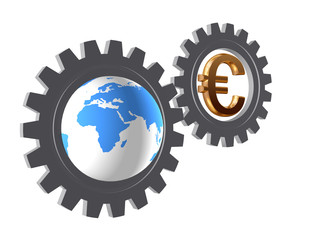 gear-wheels with world globe and euro