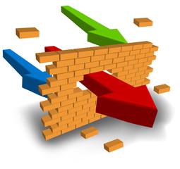 Arrow punching wall