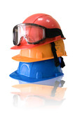 Many colored hardhats and goggles poster