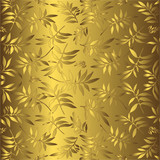Gentle golden background with an ornament from leaves poster