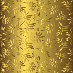 Gentle golden background with an ornament from leaves