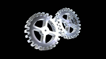 3D animation two gears in glass in loop