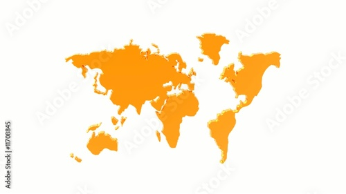 colorful world geographical rotated map silhouette, loop