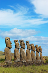 Moai at Ahu Akivi (Easter Island, Chile)