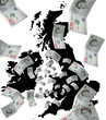 British map and money
