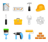 Fototapety construction tools icon set vector