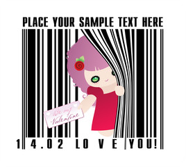 Valentines bar code with cute funny cartoon caracter