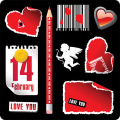 set of valentines stationary elements