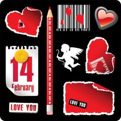 set of valentines stationary elements
