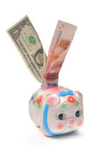 piggy-bank with a dollar and euro inside