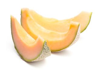 3 Spalten von Melone auf weißem Hintergrund