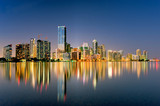 miami florida skyline illuminated at night in 2009 - Fine Art prints