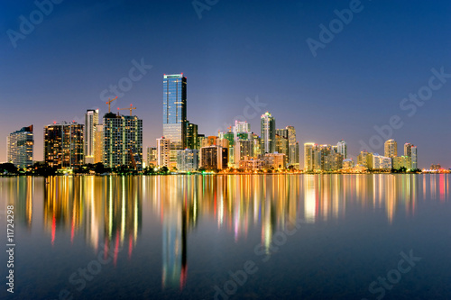 miami florida skyline illuminated at night in 2009
