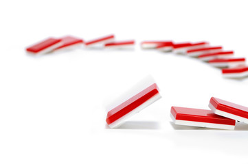 Domino Effect in Red